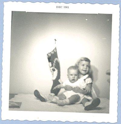 Vintage PHOTO Christmas 1961 TODDLER & BABY Stocking