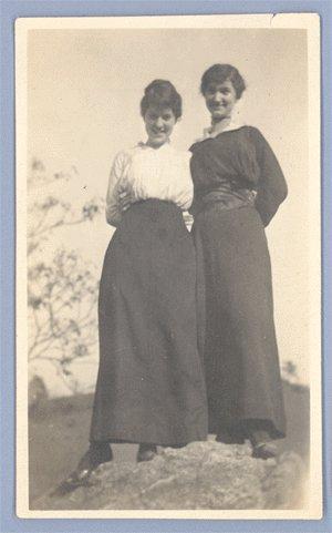 Vintage Photo 2 WOMEN on a ROCK 1890s/1900s