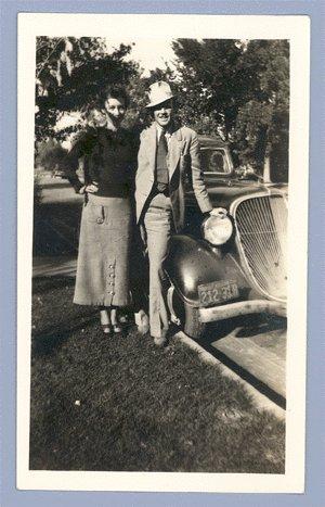 Vintage Photo COUPLE w/HUDSON TERRAPLANE Classic Car