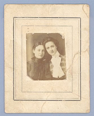 Vintage Photo Miniature Cabinet Card SISTERS Two Women