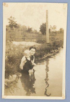 Vintage Photo WOMAN Baby SWIM 1920s THERRELL Fix