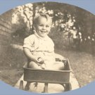 Vintage Photo BOY riding LITTLE RED WAGON 1940s