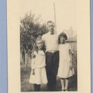Vintage Miniature Photo MAN with TWO GIRLS 1900s