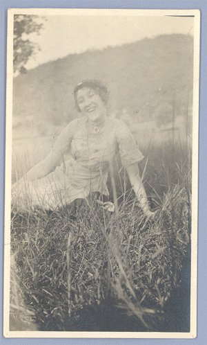 Vintage Photo 1920s WOMAN RECLINING on GRASS