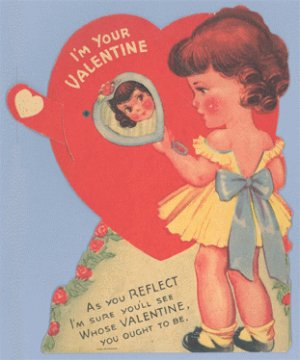 Vintage Valentine MIRROR Mechanical MOVING Card REFLECT