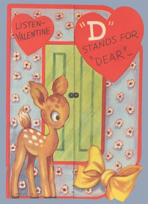 Vintage Valentine D STANDS FOR DEAR 1930s/40s fold-out