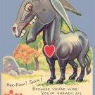 Vintage Valentine HEE-HAW SAYS I Donkey MECHANICAL