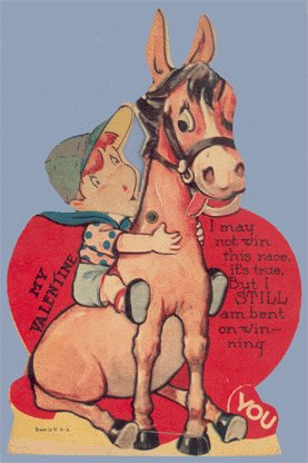 Vintage Valentine HORSE RACE Racing MECHANICAL