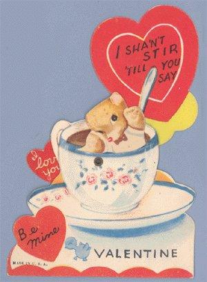 Vintage Valentine TEDDY BEAR Tea Cup MECHANICAL