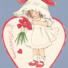Vintage Valentine RAPHAEL TUCK Die Cut GIRL IN BONNET