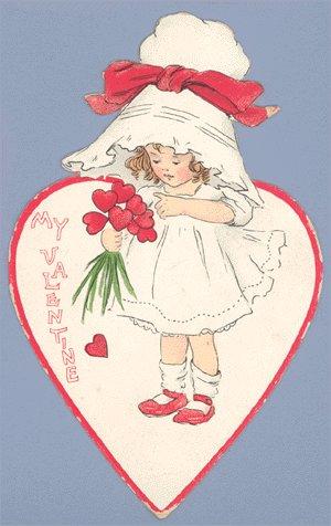 Vintage Valentine RAPHAEL TUCK Die Cut GIRL IN BONNET