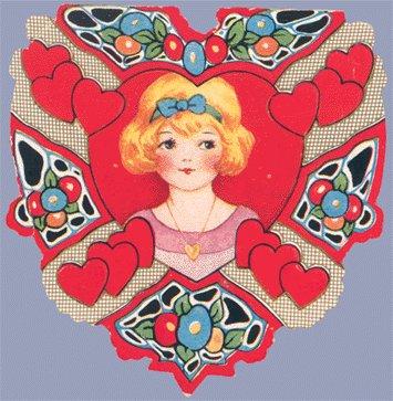 Vintage Valentine WHITNEY MADE Deco HEART Girl w/Locket