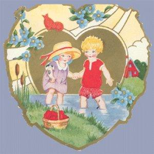 Vintage Valentine WHITNEY MADE Deco HEART Wading