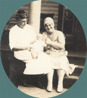 Vintage Photo 1920s FLAPPER Woman Poses with Infant