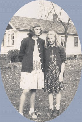 Vintage Photo TWO GIRLS in CARDIGANS 1940s