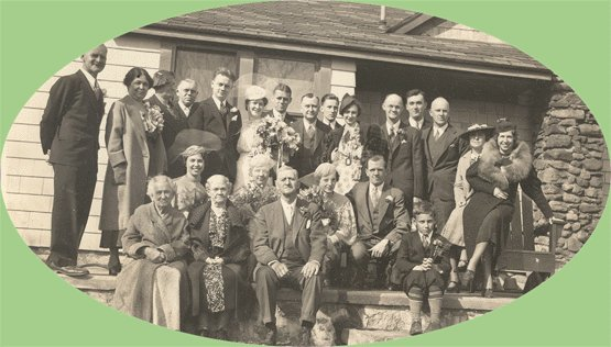 Vintage Photo 1936 WEDDING PARTY Laura/Russell Stanley