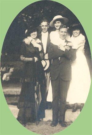 Vintage Photo GROUP IN HATS Fancy Dress