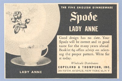 Vintage Advertising 1953 SPODE DINNERWARE Lady Anne AD