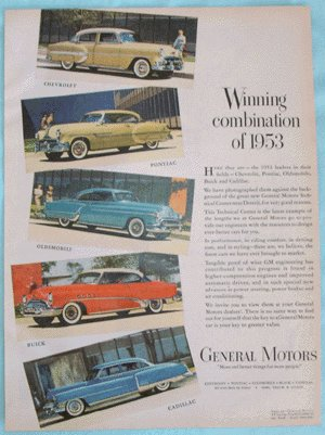 Vintage Advertising Car Ad 1953 CHEVROLET Buick CADILLAC Oldsmobile