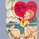 Vintage Valentine 1950s TENNIS Just the Match