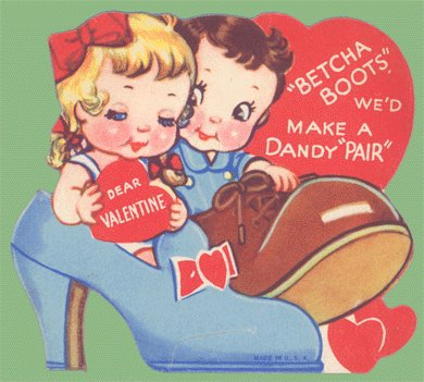 Vintage Valentine Card 1940s SHOES Betcha Boots DANDY PAIR