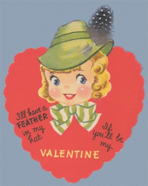 Vintage Valentine 1930s/1940s REAL FEATHER in my HAT