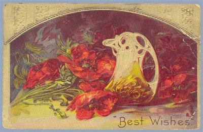 Vintage Postcard BEST WISHES Poppies FLOWERS Victorian