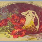 Vintage Postcard BEST WISHES Poppies FLOWERS Victorian