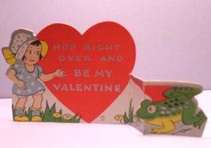 Vintage Valentine Card FROG Hop Right Over FOLD-OUT