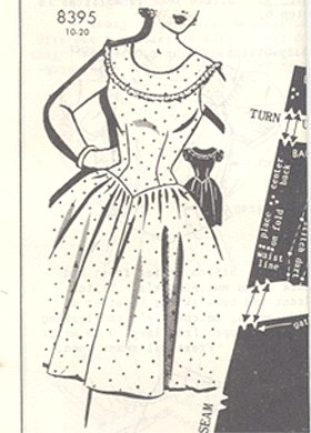 Vintage PATTERN 1956 PATT-O-RAMA 8395 Country PARTY DRESS 32b