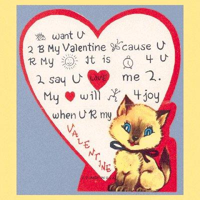 Vintage Valentine Card 1960s Siamese Cat REBUS PUZZLE