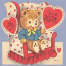 Vintage Valentine 1950s BEAR ON CHAIR Sitting Pretty