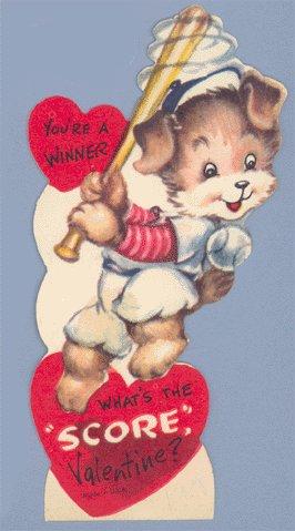 Vintage Valentine BASEBALL Batter WHAT'S THE SCORE Dog