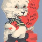 Vintage Valentine PUSS-IN-BOOTS Cat BET YOUR BOOTS