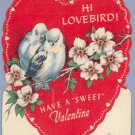 Vintage Valentine LOVE BIRD Erco Candy LOLLIPOP CARD