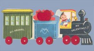 Vintage Valentine FUZZY Train FELTED All Aboard ENGINE