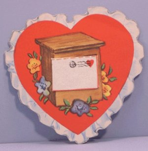 Vintage Valentine 3-D Heart with REMOVABLE LETTER Mail