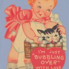 Vintage Valentine 1930s CAT IN BATH Bubbling Over