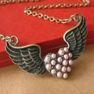 Vintage Inspired Winged Pink Pearls Heart Necklace