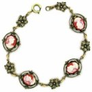Cameo Bracelet - Vintage Style Antique Brass Carnelian Women's Jewelry