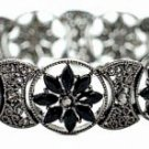 Vintage Filigree Bracelet - Jet Austrian Crystal Women's jewelry