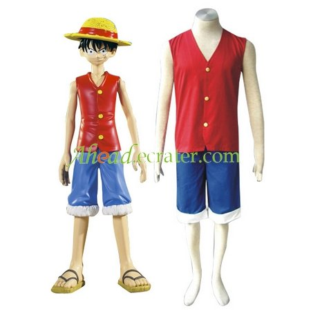 One Piece Luffy Halloween Cosplay Costume red