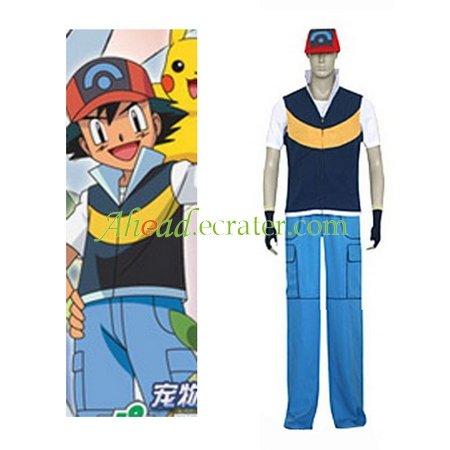 Pokémon Ash Ketchum Royal Blue And Yellow Cosplay Costume