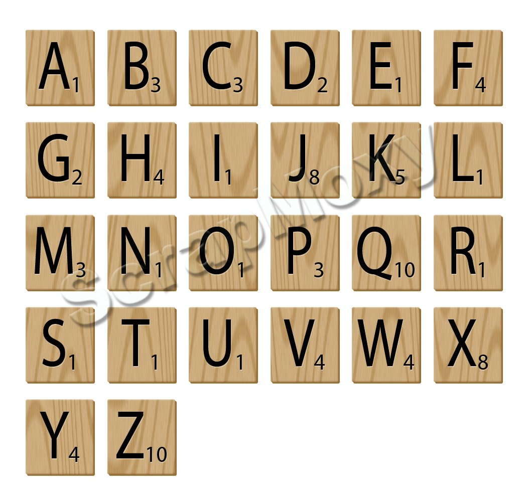 Scrabble alphabet letters for scrapbooking in Photoshop