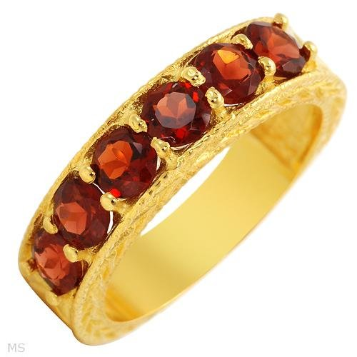 10k Gold Plated Silver 2.00 ctw Garnet Ring Ladies Size 6