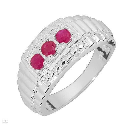 3 Stone Ruby Sterling Silver Ring Ladies Size 7