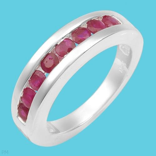 1.10ctw Ruby Channel Ring Sterling Silver Ladies Size 7
