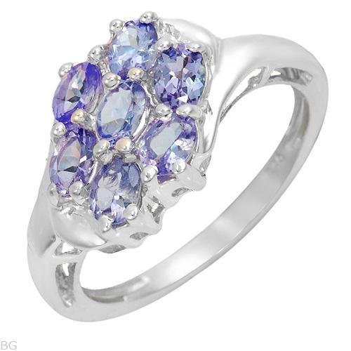 7 Stone 1.19ctw Tanzanite Sterling Silver Ring Ladies Size 7
