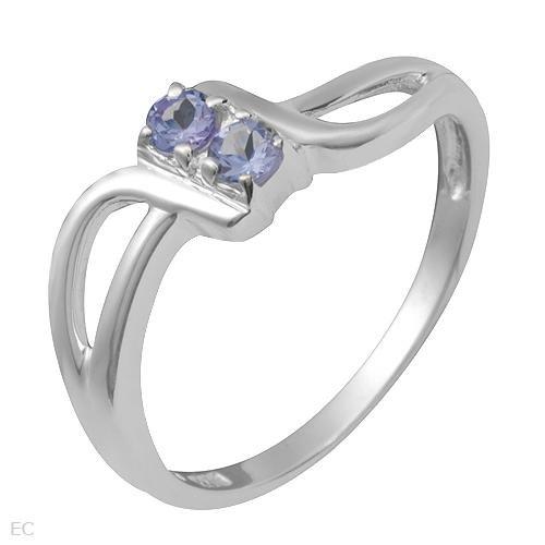 2 Stone Tanzanite Sterling Silver Ring Ladies Size 7