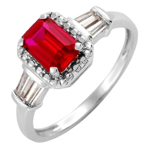 1.25ctw Ruby Sapphire 10k White Gold Ring Ladies Size 10.5